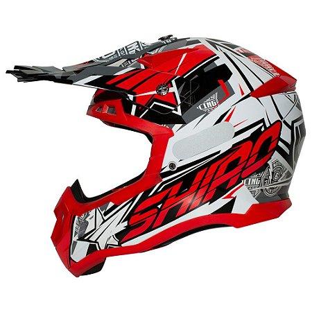 Capacete Motocross Shiro Thunder III MX-917 Vermelho