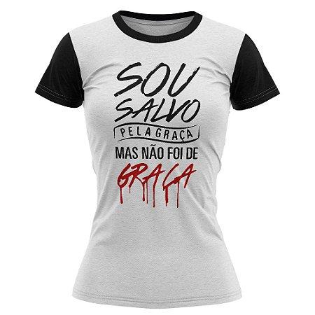 Camiseta feminina Jovem Sou salvo pela graça Branca - 016