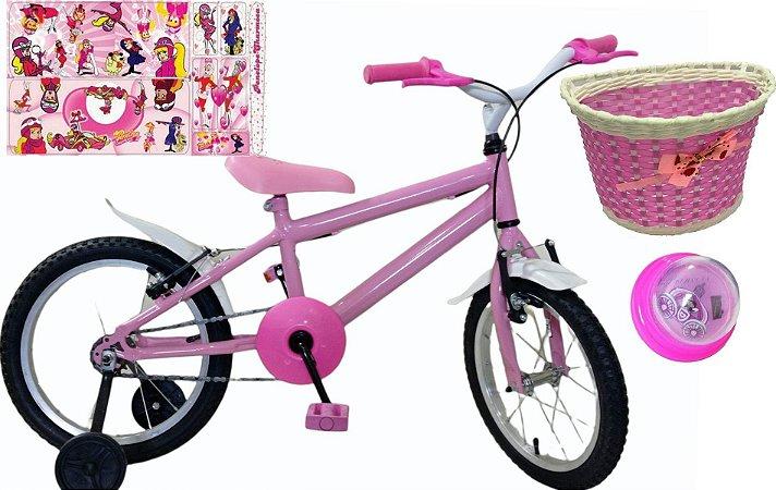 Bicicleta Feminina Aro 16 Com Cesta e Buzina