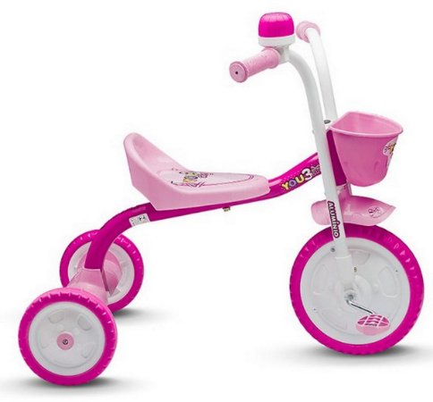 Triciclo Infantil You 3 Girl Rosa Branco