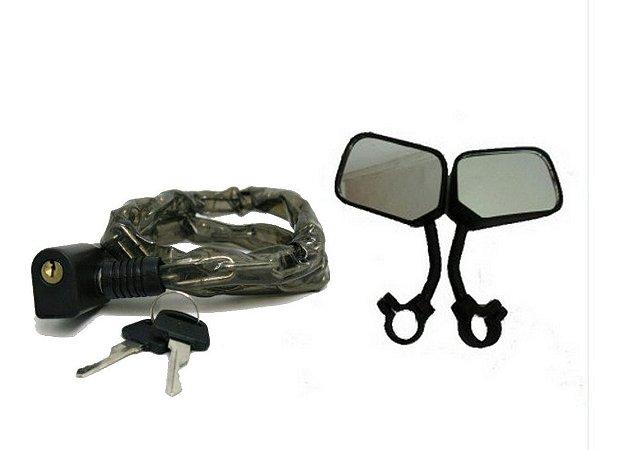 Cadeado Tranca Trava C/corrente Mais Espelho Retrovisor Bike