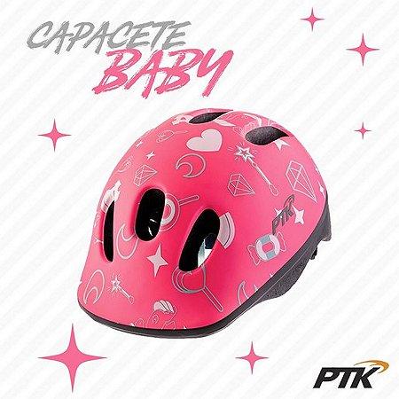 Capacete Infantil Baby Com Regulagem Da PTK Rosa Unicórnio
