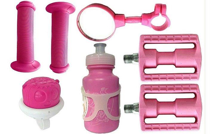 Pedal Punho Buzina Retrovisor Garrafinha Kit Infantil