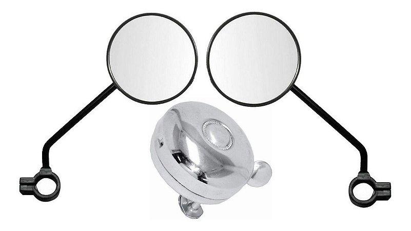 Campainha Trim Trim Buzina Espelho Retrovisor Par Preto