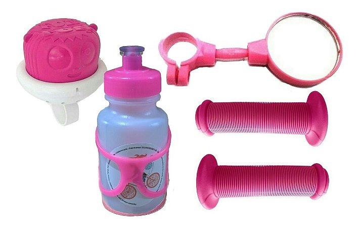 Kit Punho Garrafinha Buzina Espelho Infantil Para Bicicletas
