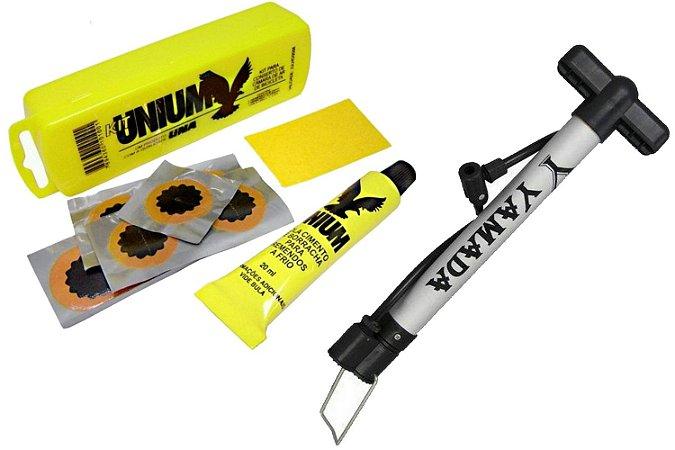 Kit Bomba de Ar Pequena com Estojo de Cola Para Bicicletas