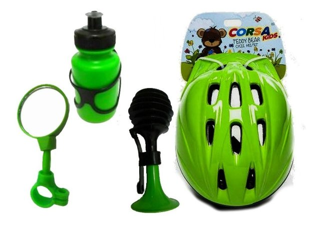 Kit Capacete Garrafinha Buzina Espelhinho P/bike Infantil