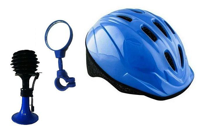 Capacete Infantil Proteção Espelhinho Buzina  P/bicicletas