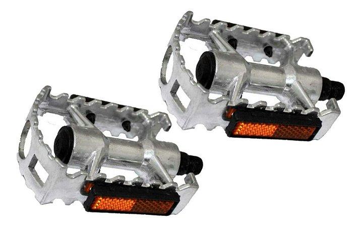 Pedal Rosca Fina(1/2) Aluminio Polido Com Refletor P/bike