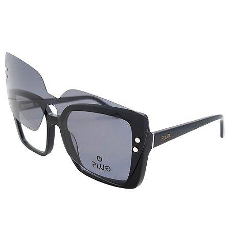 Óculos Clip On Plug 4602 com Lente Solar / Preto - 2 em 1