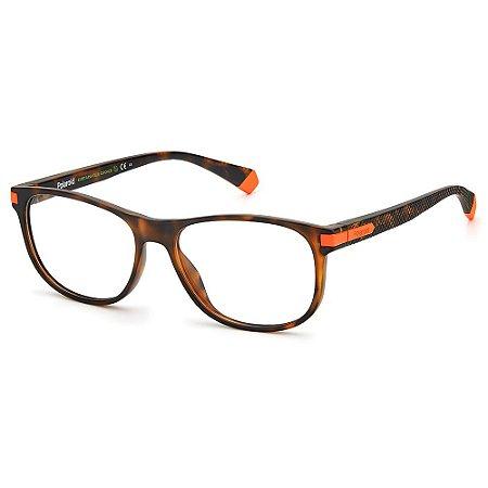 Armação para Óculos Polaroid PLD D417 55 Marrom - Polarizado