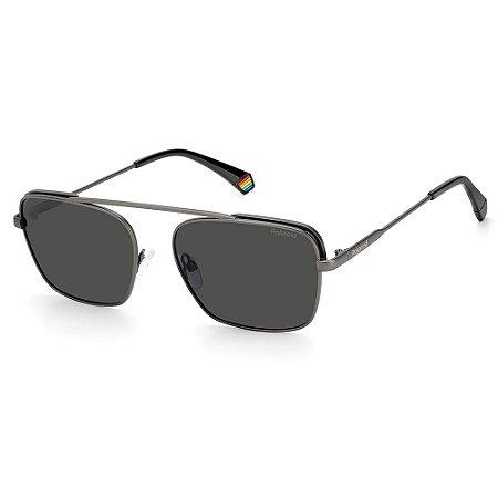 Óculos de Sol Polaroid PLD 6131/S / 56 - Prata - Polarizado