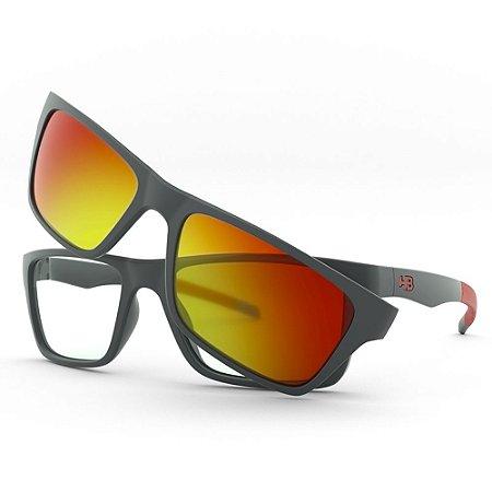 Armação de Óculos HB 93160 Graphite - Active 53 Red Clip-On