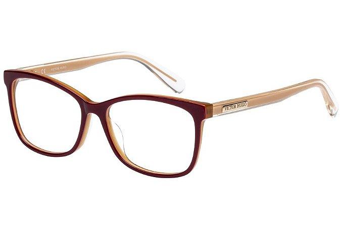 Óculos de Grau Victor Hugo VH1766 09CG/53 Bordô/Bege