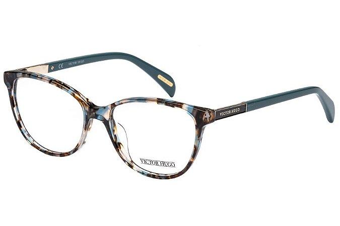 Óculos de Grau Victor Hugo VH1758 0GEK/53 Marrom Mesclado/Azul
