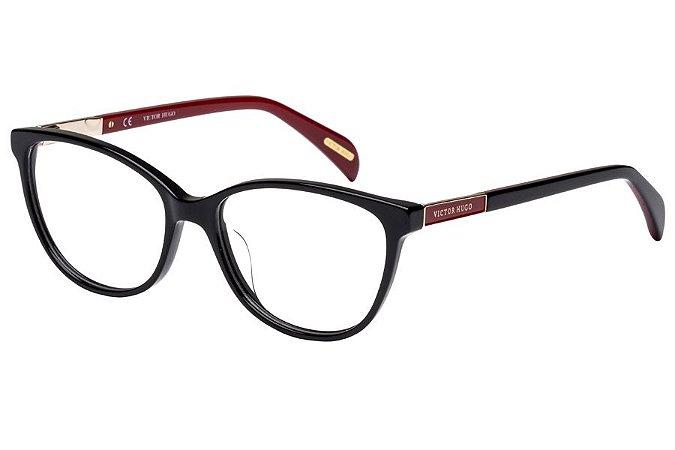 Óculos de Grau Victor Hugo VH1758 0700/53 Preto/Vermelho