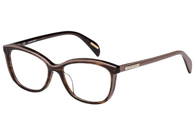 Óculos de Grau Victor Hugo VH1757 09R4/53 Marrom Transparente/Bege
