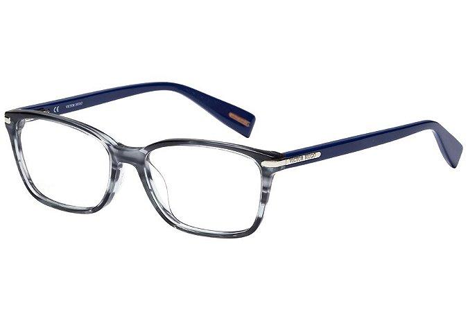 Óculos de Grau Victor Hugo VH1751 01EX/53 Cinza Mesclado/Azul