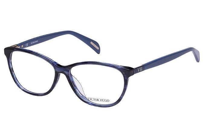 Óculos de Grau Victor Hugo VH1722 06WR/54 Azul Mesclado Transparente