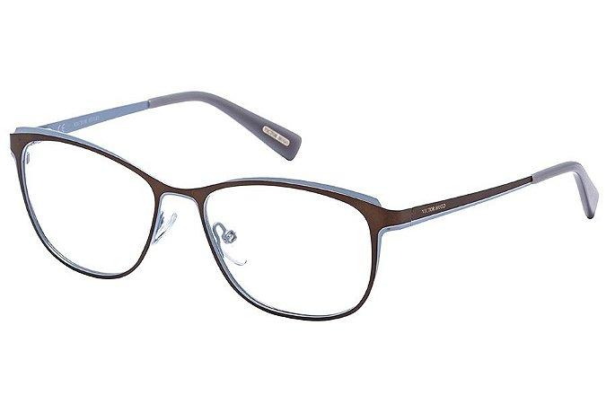 Óculos de Grau Victor Hugo VH1255 08TG/54 Marrom/Azul