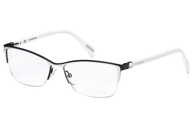 Óculos de Grau Victor Hugo VH1251S 0583/54 Preto/Prata/Branco