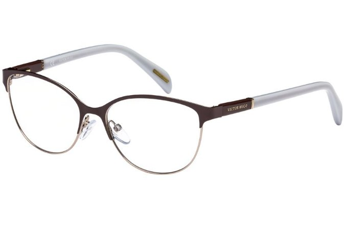 Óculos de Grau Victor Hugo VH1250 0SHE/53 Marrom/Branco
