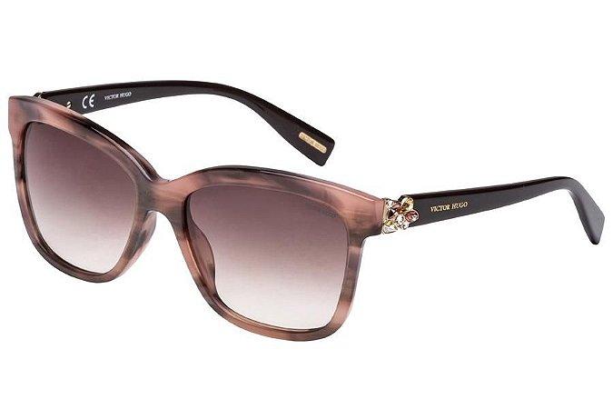 Óculos de Sol Victor Hugo SH1749S 0AQQ/55 Bege Mesclado/Marrom