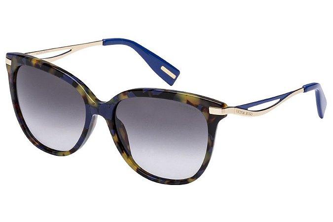 Óculos de Sol Victor Hugo SH1744 0ADT/55 Marrom Mesclado/Azul
