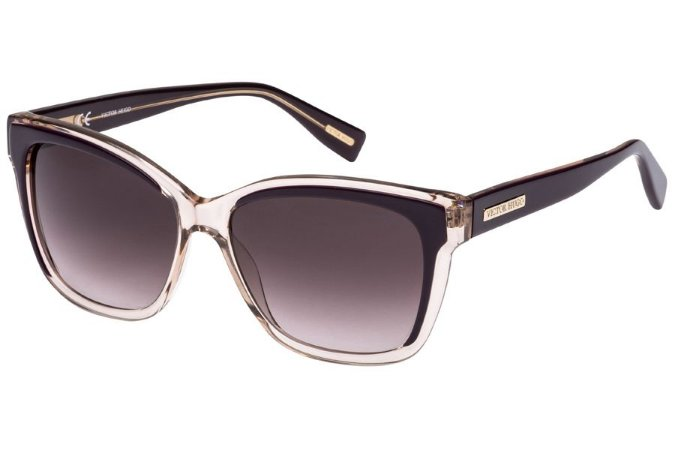 Óculos de Sol Victor Hugo SH1742 09Q4/56 Bege Transparente/Roxo