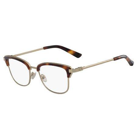 Óculos de Grau Calvin Klein CK8066 218/51 Tartaruga Dourado