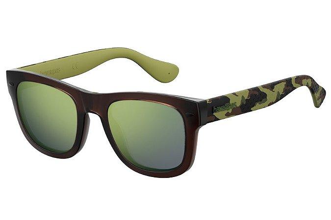 Óculos de Sol Havaianas Paraty/M 3FI QU/50 Marrom/Verde Camuflado