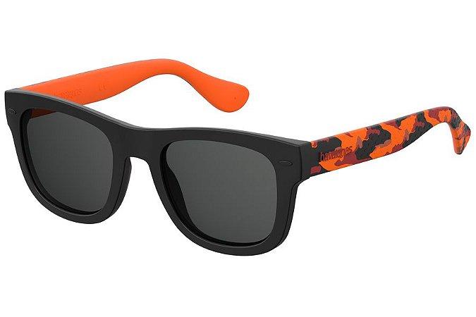 Óculos de Sol Havaianas Paraty/L WWN IR/52 Preto/Laranja Camuflado