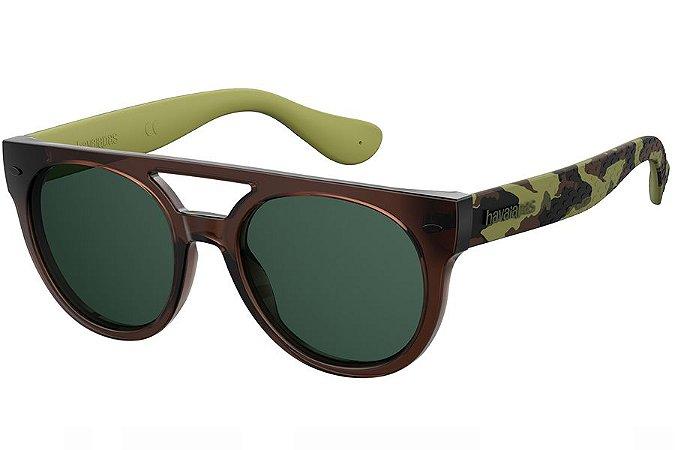 Óculos de Sol Havaianas Buzios 201424 3FI-QT/53 Marrom/Verde Camuflado