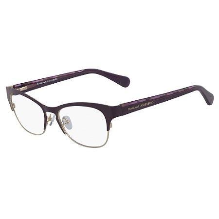 Óculos de Grau Diane Von Furstenberg DVF8061 500/52 Roxo - Retangular