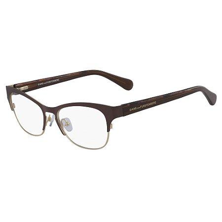 Óculos de Grau Diane Von Furstenberg DVF8061 210/52 Marrom - Retangular