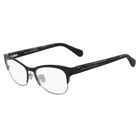 Óculos de Grau Diane Von Furstenberg DVF8061 001/52 Preto - Retangular