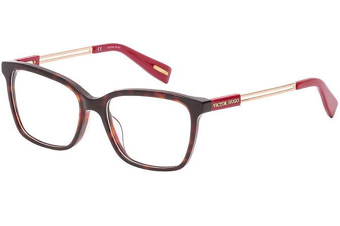 Óculos de Grau Victor Hugo VH1782 722/53 Marrom/Vermelho