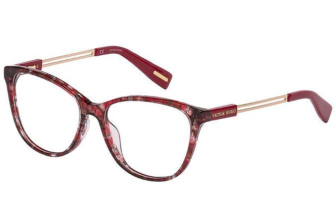 Óculos de Grau Victor Hugo VH1781 09A7/54 Vermelho Estampado Transparente/Dourado