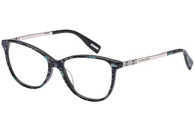 Óculos de Grau Victor Hugo VH1773S 0ARR/54 Azul Estampado/Prata