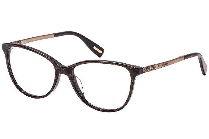 Óculos de Grau Victor Hugo VH1773S 09E8/54 Marrom Estampado/Dourado