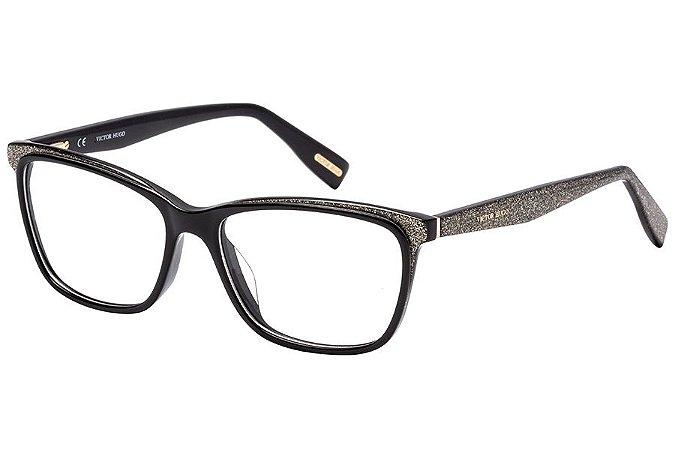 Óculos de Grau Victor Hugo VH1771 09G5/54 Preto/Glitter