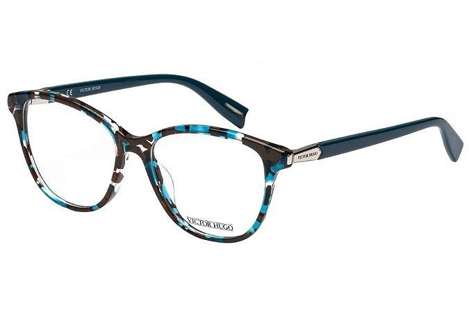 Óculos de Grau Victor Hugo VH1768 0GGD/52 Azul Mesclado/Marrom