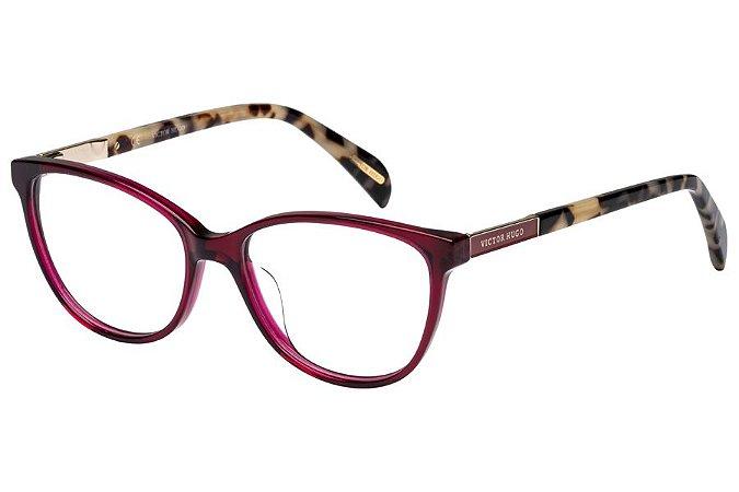 Óculos de Grau Victor Hugo VH1758 09HG/53 Vinho Transparente/Mesclado