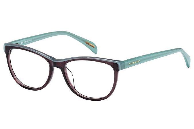 Óculos de Grau Victor Hugo VH1734 0W09/52 Marrom Tansparente/Azul