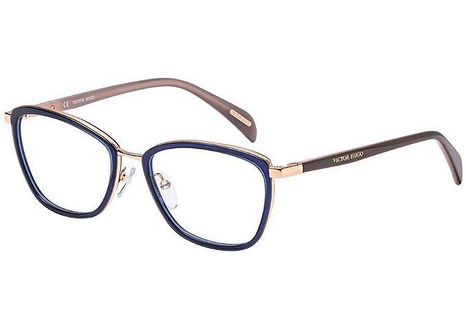 Óculos de Grau Victor Hugo VH1258 300Y/53 Azul/Dourado