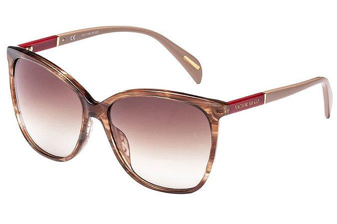 Óculos de Sol Victor Hugo SH1778 889/58 Marrom Mesclado Transparente/Vermelho