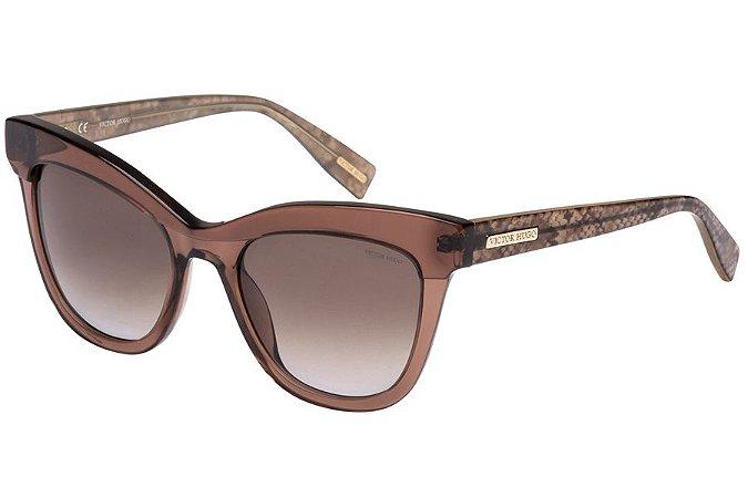 Óculos de Sol Victor Hugo SH1764 0B36/51 Marrom Transparente/Efeito Escama