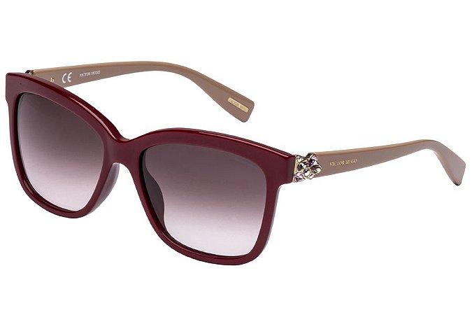 Óculos de Sol Victor Hugo SH1749S 0G96/55 Bordô/Bege