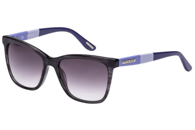 Óculos de Sol Victor Hugo SH1746 09T8/53 Preto Transparente/Azul