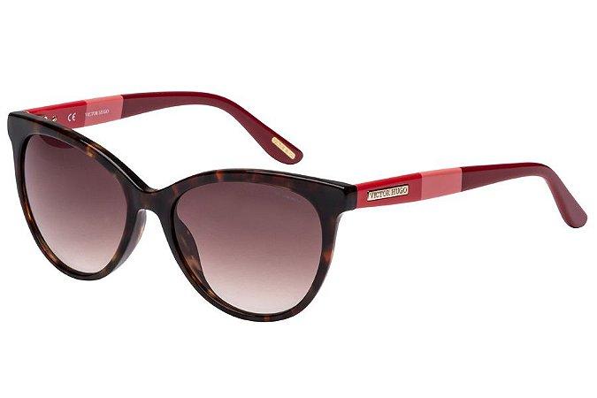 Óculos de Sol Victor Hugo SH1745 07R5/54 Tartaruga/Vermelho/Bordô